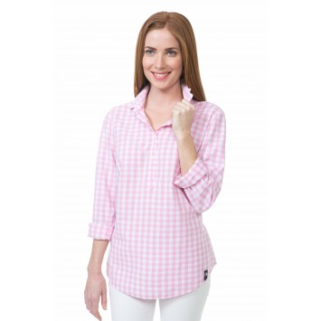 Gingham Brooks Popover - Bright Pink